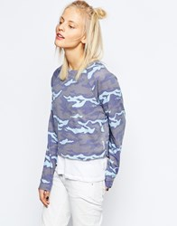 Reebok Lightweight Sweatshirt With All Over Camo Print Zee Blue S16 R