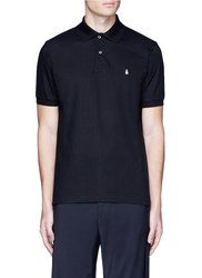 Paul Smith Ghost Embroidery Cotton Polo Shirt Black