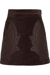 Chloe Leather Appliqued Suede Mini Skirt Chocolate