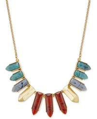 Inc International Concepts Gold Tone Multicolor Pointed Stone Bib Necklace Only At Macy's Red