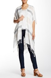 14Th And Union Slub Striped Fringe Ruana Multi