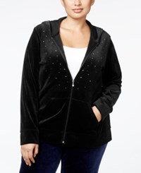 Karen Scott Plus Size Embellished Velour Hoodie Only At Macy's Deep Black