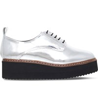 Kg By Kurt Geiger Kyack Leather Flatform Oxfords Silver