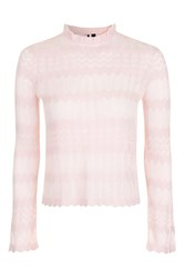Topshop Sheer Stitch Frill Top Pale Pink