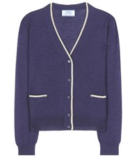 Prada Virgin Wool And Silk Blend Cardigan Blue