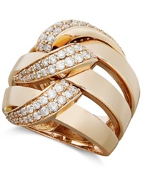 Effy Collection Pave Rose By Effy Diamond Diamond Three Row Link Ring 1 Ct. T.W. In 14K Rose Gold