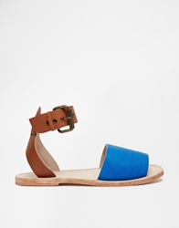 H By Hudson Soller Ankle Strap Leather Flat Sandals Bluemulti