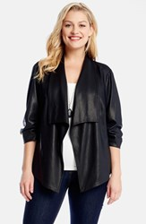 Plus Size Women's Karen Kane Shirred Sleeve Faux Leather Jacket