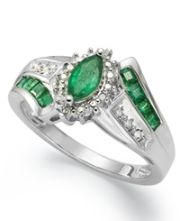 Macy's Sterling Silver Ring Marquise Cut Emerald 3 4 Ct. T.W. And Diamond Accent Ring