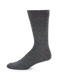 Saks Fifth Avenue Jasper Spotted Crew Socks Grey