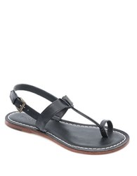 Free People Maverick Leather Toe Ring Sandals Black