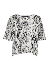 French Connection Embossed Snake Slouchy Jumper White