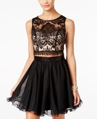 As U Wish Juniors' 2 Pc. Sequined Lace Fit And Flare Dress Blush Black