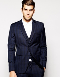 Vito Check Suit Jacket In Slim Fit Admiralblue