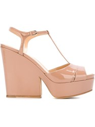 Sergio Rossi Chunky Heel Sandals Nude And Neutrals