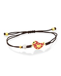 Tous Comic Red Bird Cord Bracelet Brown