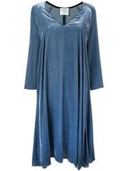 Forte Forte Velvet V Neck Dress Blue