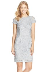 Women's Js Collections Short Sleeve Soutache Cocktail Dress Silver