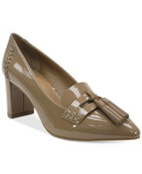 Tahari Tami Pointed Toe Loafer Pumps Women's Shoes Toast