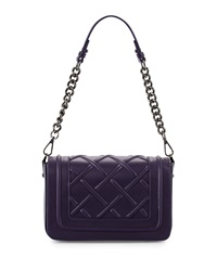 Charles Jourdan Magdi Quilted Leather Shoulder Bag Purple
