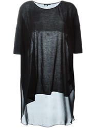 Unconditional Sheer Long Back T Shirt Black