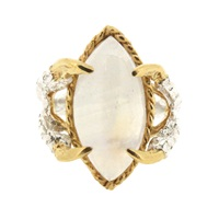 Tessa Metcalfe Moonstone Marquise Claws Of Engagement Gold Silver
