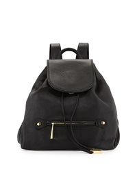 Halston Heritage Leather Flap Top Drawstring Backpack Black