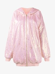 Ashish Oversized Sequin Embellished Hoodie Pink Denim Red