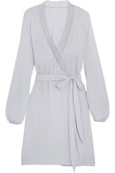 Eberjey Daria Lace Trimmed Modal Jersey Robe Light Gray