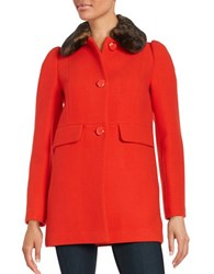 Kate Spade Faux Fur Trimmed Button Front Coat Lollipop Red