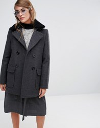 Gloverall Reefer Coat With Real Shearling Collar Grey