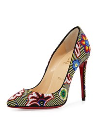 Christian Louboutin Miss Taos Beaded 100Mm Red Sole Pump Black Multi