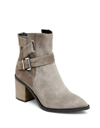 Kenneth Cole Quincie Stacked Heel Suede Boots Grey