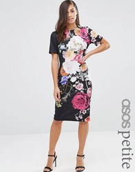 Asos Petite New Floral Printed T Shirt Dress Multi