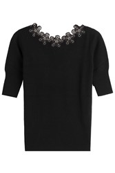 Etro Wool Cashmere Pullover With Embroidery Black