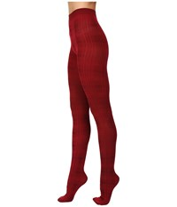 Hue Plaid Sweater Tights Deep Red Women's Casual Pants
