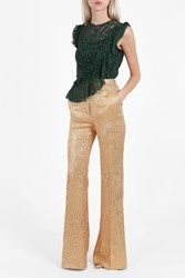 Rochas Flare Lurex Jacquard Trousers Gold
