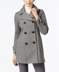 Anne Klein Petite Double Breasted Long Peacoat Medium Grey