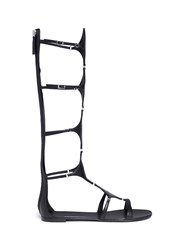 Giuseppe Zanotti 'Roll' Knee High Leather Gladiator Sandals Black