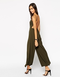 Asos Jumpsuit With Open Back And Wide Leg Khaki