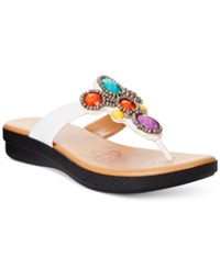 Easy Street Shoes Easy Street Begem Thong Sandals Women's Shoes White