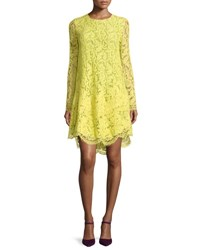 Adam By Adam Lippes Long Sleeve Lace Trapeze Dress Citron