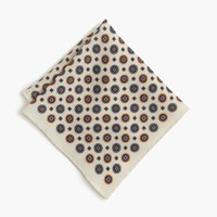 J.Crew English Wool Pocket Square In Medallion Print Ivory