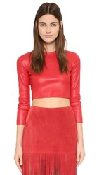 Theperfext Bronx Leather Crop Top Red