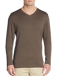 Robert Barakett Georgia V Neck Long Sleeve Cotton Tee Moss