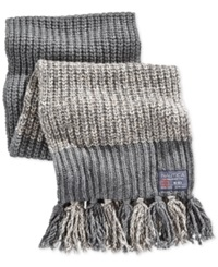 Nautica Color Blocked Marled Fringed Scarf Granite Heather Oatmeal Heather