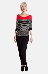Olian Striped Slim Fit Maternity Tee Black Red White