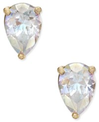 Kate Spade New York Gold Tone Crystal Teardrop Stud Earrings White