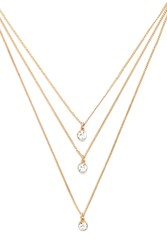 Forever 21 Rhinestone Layered Necklace Gold Clear