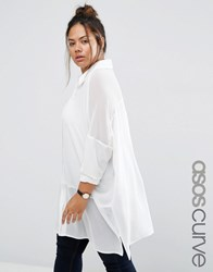 Asos Curve Oversized Blouse With Sheer Inserts Ivory White